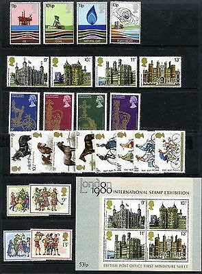 GB 1978 Commemorative Stamps, Year Set (SG1050 - SG1074) plus mini sheet MS1058