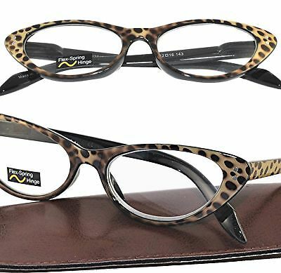 beb44c0a8b Leopard Print CLASSIC CAT EYE Retro Vintage Reading Glasses Spring Hinge  +3.00
