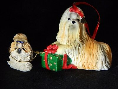 Lot Of 2 Shih Tzu Dog Pup Christmas Present Dog Ornament
