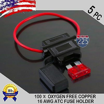 5 Pack 16 Gauge ATC In-Line Blade Fuse Holder 100% OFC Copper Wire + 1A - 40A