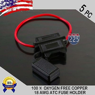 5 Pack 18 Gauge ATC In-Line Blade Fuse Holder 100% OFC Copper Wire Protection US