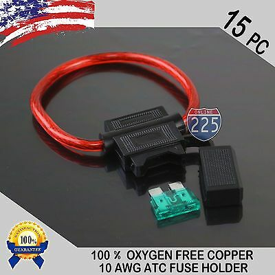15 pcs 10 ga Gauge ATC Blade OFC Copper Wire Cable In-Line Fuse Holder +40A Fuse