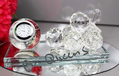 Crystal Cut Grapes With Clock  For Home Decor Christmas Gift & Gift Box