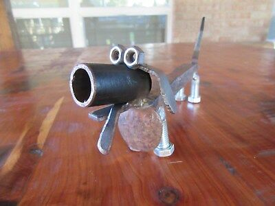 Metal Dachshund-RR Spikes-Welded Art-Steel Dog-Scrap Metal Weenie Dog-Handmade