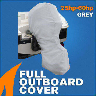 Full length Grey outboard engine dust and rain protection cover - 25hp - 60hp