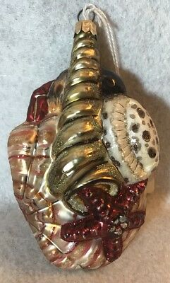 "Slavic Treasures ""Seashell Cluster"" Hand Blown & Painted Glass X-Mas Ornament"