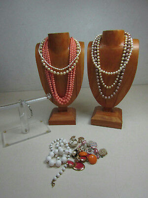 Vintage Costume Jewelry Lot White Beads Pearls Necklaces Earrings Bangle