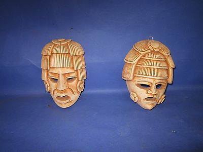 Lot of Two Terracotta Mexican Mayan Aztec Inca Wall Masks Good Condition