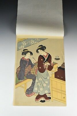 Early Japanese Woodblock Print view of Two Geisha's Signed