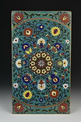 Antique 14 x 8 Inch Chinese Cloisonne Plaque Panel