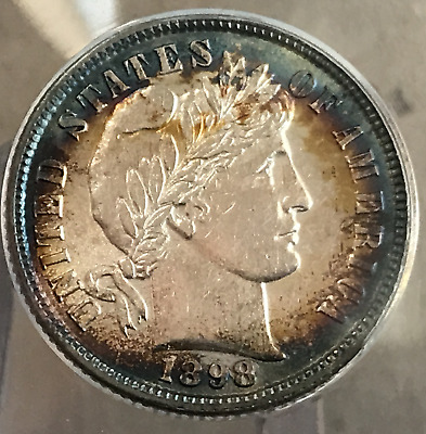 1898 P 10c Barber Dime ANACS AU58 With Attractive Toning