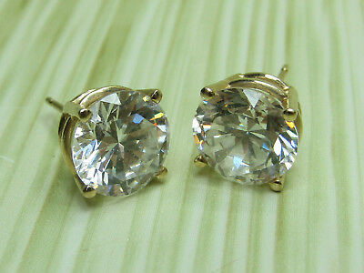 14K Yellow Gold Jewelry Stud Earrings Large Faceted Round White Stone