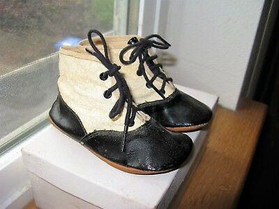 Antique Baby Child Doll Bear Shoes 2 Tone Leather Boots, soft White Leather, 2.5