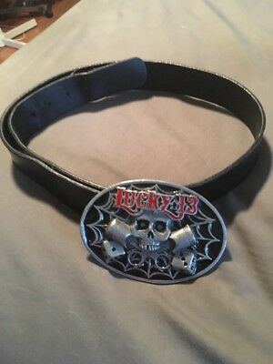 Lucky 13 Belt Buckle With Size 38 Black Genuine Leather Belt From Hot Topic