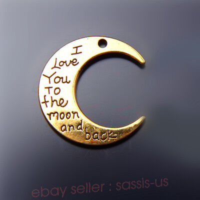 1 piece 30*28mm Moon Style I Love You To The Moon And The Back Charms Gold 7479A