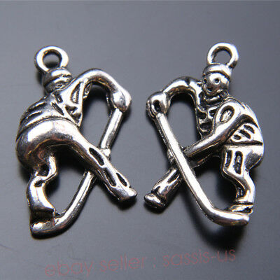 2 Piece 23*15mm 3D Hockey Player Charms Tibetan Silver Jewelry Finding 7437A