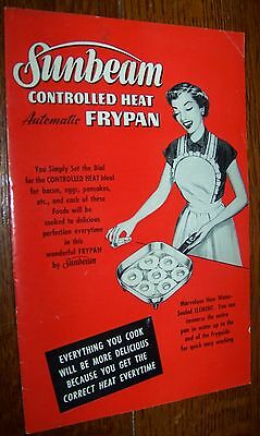 1953 Vintage Sunbeam Controlled Heat Frypan Instruction Manual Cook Book Receipe