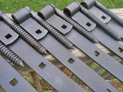 """Lot of 6 Antique Barn Door or Gate 10"""" Iron Strap Hinges w/ Pintle Pins Old Vtg"""