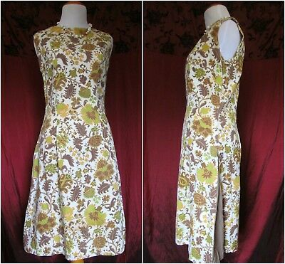 Vintage Mod '60s Martha Moore Lime Green Tan Floral Tapestry Pleated Aline Dress