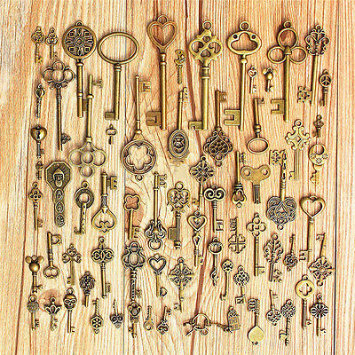 1Set of 70 Antique Vintage Old Look Bronze Skeleton Keys Fancy Heart Bow Pendant