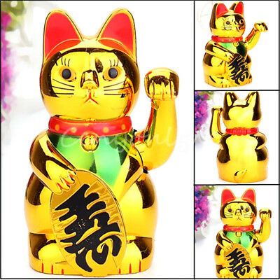 "6"" Chinese Lucky Wealth Waving Cat Beckoning Maneki Golden Powered by AA Battery"
