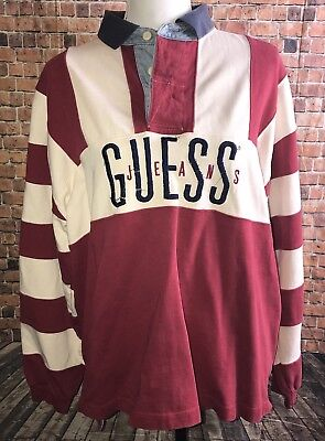 VTG Guess Unisex LARGE Striped Logo HENLEY Sweater GUESS JEANS