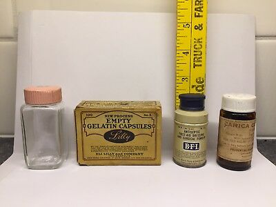 Vintage Medical Lot 4 Lilly Box Pink Lid Bottle Baby 1950's Tin Surgical Powder
