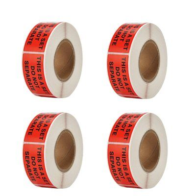 """4 Rolls 500/Roll 1"""" X 2"""" This Is a Set Do Not Separate Sticker FBA Warning Label"""