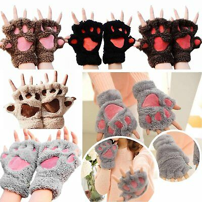 Knit Gloves For Women Paw Winter Mittens Cat Fluffy Soft Bear Claw Cute Scared