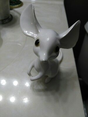 """Porcelain Big Ear White Mouse  5.25"""" tall norcrest? PY? Mice"""