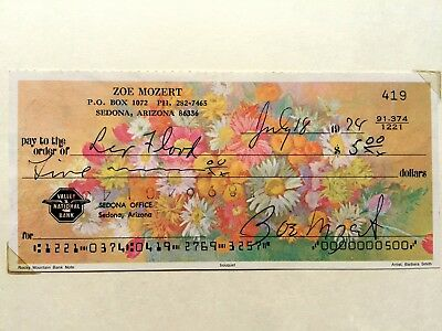 Hand Signed Check by Famous Female Pin Up Artist Zoe Mozert