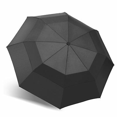 42 Inch Large Vented Double Canopy Golf Automatic Open Umbrella Windproof Black