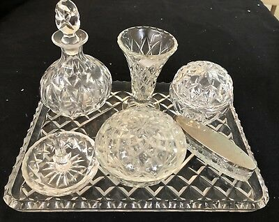 Dressing Table Set - Crystal And Glass On Tray - 7 Pieces In Ex. Cond.