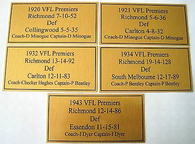 RICHMOND Premiers  Gold  Plaques 1920-21-32-34-43 all five one price F/Post