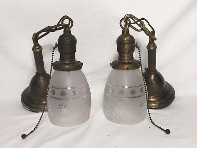 2 Antique Brass Frosted Pendant Light Fixtures Mission Chandelier Arts Crafts