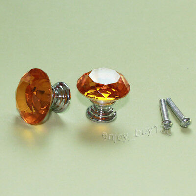 2 Solid Amber Crystal Glass Drawer Pull Cabinet Knob Kitchen Handle 30mm
