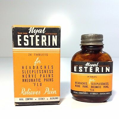 Vintage Nyal ESTERIN TABLETS Bottle in Original Box & Directions