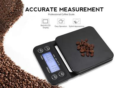 Black Digital Kitchen Food Coffee Weighing Scale+Timer with Back-lit LCD Display