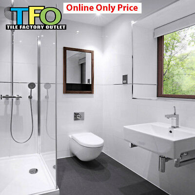 Only $11/m2! Gloss White Rectified Ceramic Wall Tile 300x600mm (#4135)
