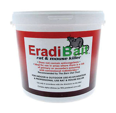 Eradibait 3kg Deadly to rats and mice but safe for dogs, cats, rabbits & birds.