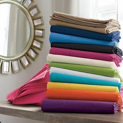 Solid Bed Sheet Set All Colors & Sizes 1000 Thread Count Egyptian Cotton