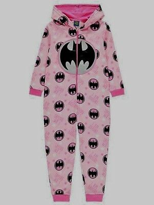 Girls DC Comics Batgirl Hooded All In One Glitter PYJAMAS Size 4-14 years