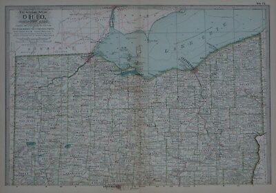 Original 1897 Map Northern OHIO Toledo Akron Youngstown Canton Oberlin Cleveland