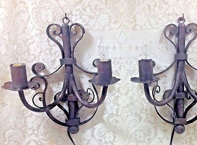 Tuscan Wall Sconces Electric Candle Spanish Revival Rustic Scroll Vintage