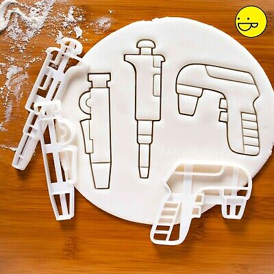 Set of 3 Pipette Cookie Cutters | Micropipette Pump Microbiology Biology science
