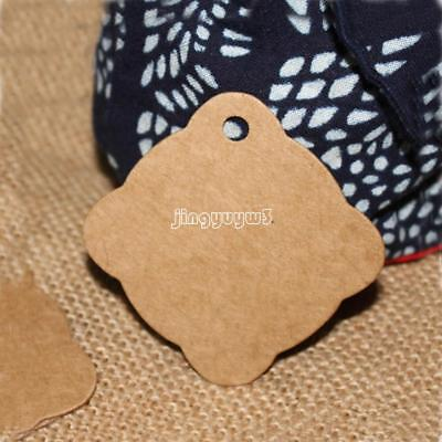100PCS Kraft Paper Hang Tags Wedding Party Favor Label Price Card Gift 58x58mm