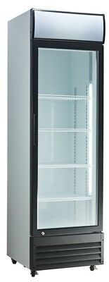 Commercial Single Door Refrigerated Merchandiser Glass Display Chiller w/ Canopy