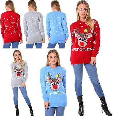 Ladies Christmas Xmas Pink Reindeer Pom Pom Nose Knitted Snow Sweater Jumper Top