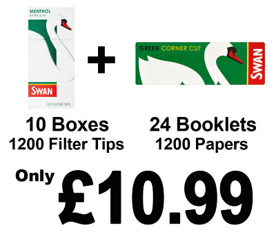 1200 Swan Green Rolling Papers and 1200 Swan Menthol Extra Slim Filter Tips