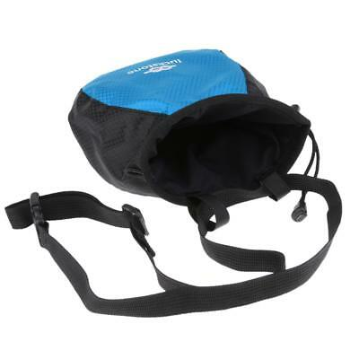Chalk Bag Pouch for Rock Climbing Gym with Drawstring and Waist Belt Blue